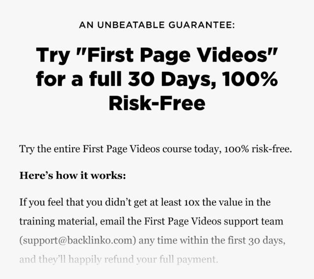 Firstpagevideos – Sales Page Guarantee